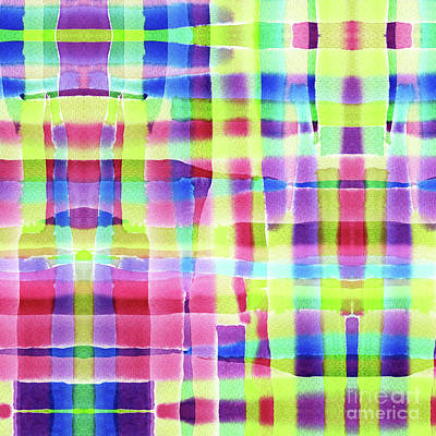 Painting - Hand-painted Abstract Gingham Weave Neon Rainbow by Beverly Claire Kaiya