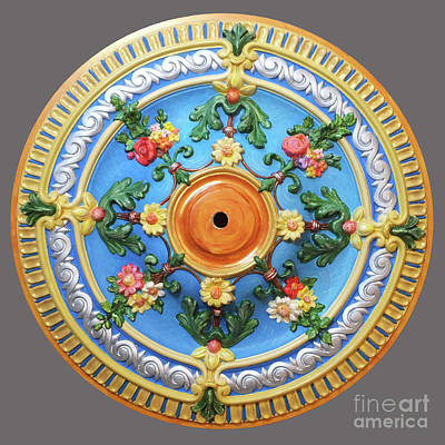 Mixed Media - Hand Painted Ceiling Medallion 26 Inch by Lizi Beard-Ward