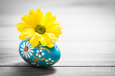 Freshness Photograph - Hand Painted Easter Egg And Spring Daisy Flower On Wood by Michal Bednarek