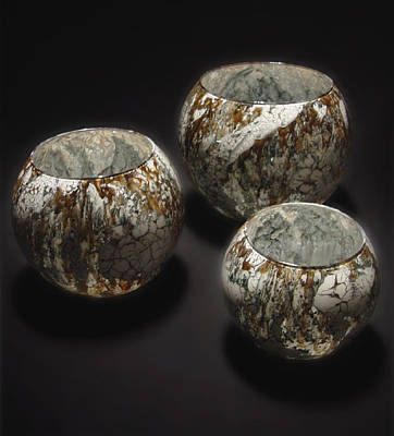 Glass Art - Hand Painted Glass Set Of Three Brown White by Christopher Schranck