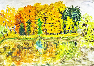Painting - Hand Painted Picture, Autumn Landscape by Irina Afonskaya