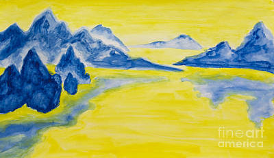 Painting - Hand Painted Picture, Blue Hills On Yellow Background by Irina Afonskaya
