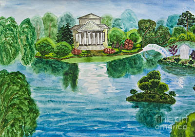 Painting - Hand Painted Picture, House With Lake by Irina Afonskaya