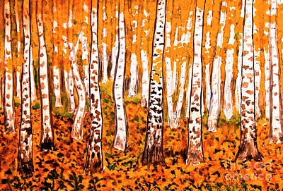 Painting - Hand Painted Picture, Orange Birch Forest by Irina Afonskaya