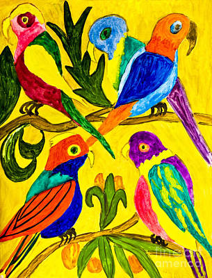 Painting - Hand Painted Picture, Parrots by Irina Afonskaya