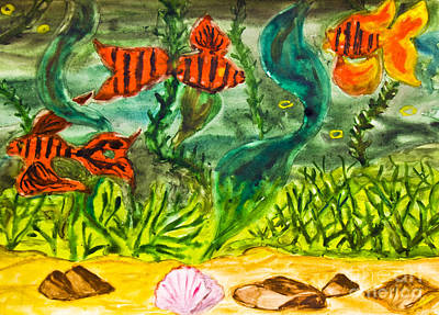 Painting - Hand Painted Picture, Red Fishes by Irina Afonskaya