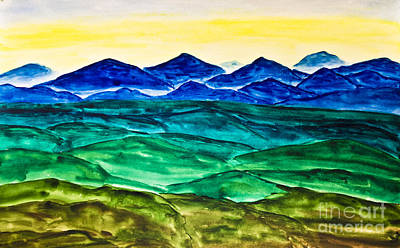 Painting - Hand Painted Picture, Watercolours, Blue Hills by Irina Afonskaya