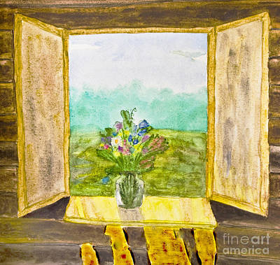 Painting - Hand Painted Picture, Watercolours, Flowers On Window by Irina Afonskaya