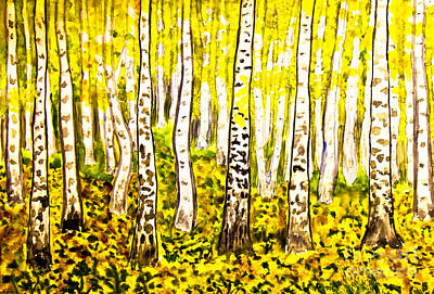 Painting - Hand Painted Picture, Yellow Birch Forest by Irina Afonskaya
