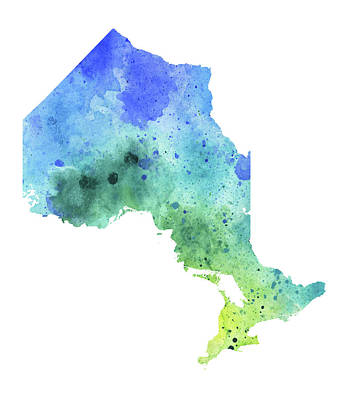 Hand Painted Watercolor Map Of Ontario, Canada In Blue And Green  Original