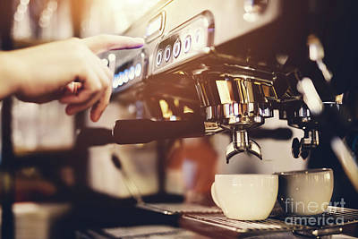 Photograph - Hand Pressing The Button On A Coffee Machine. Coffee Preparation. by Michal Bednarek