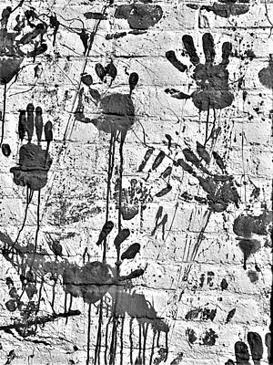 Photograph - Hand Print In B W by Rob Hans