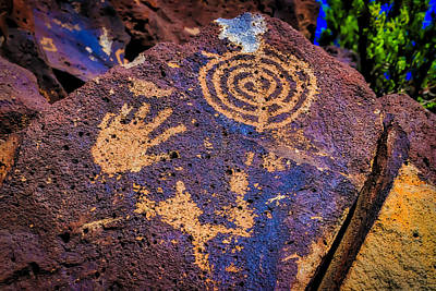 Tribal Photograph - Hand Print On Rock by Garry Gay