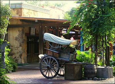 Hand Propelled Wheel Cart With Supplies Art Print