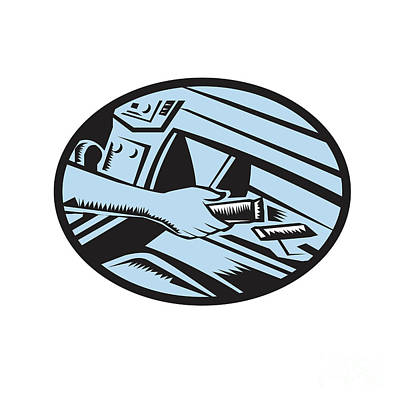 Hand Reaching In Glove Box For Energy Bar Oval Woodcut Art Print