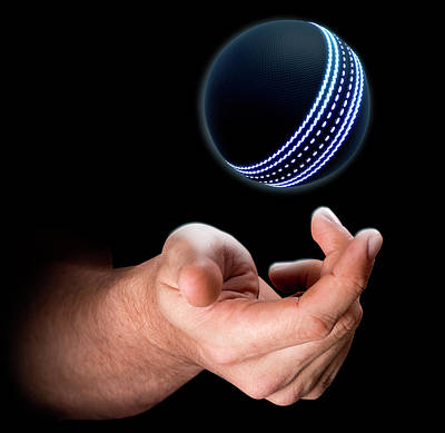 Hand Tossing Cricket Ball Art Print