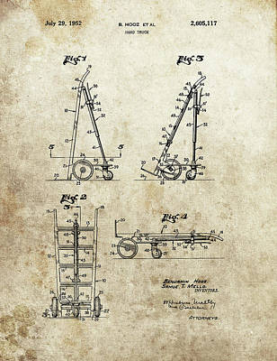 Drawing - Hand Truck Patent by Dan Sproul