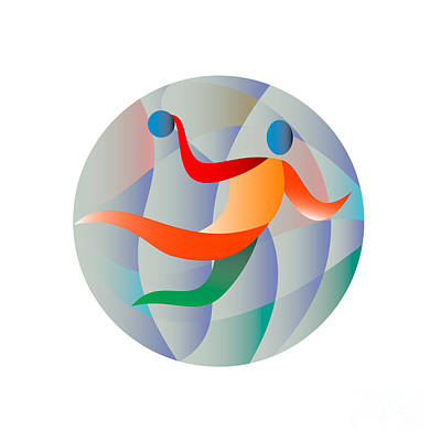 Scoring Digital Art - Handball Player Jumping Throwing Ball Circle  by Aloysius Patrimonio