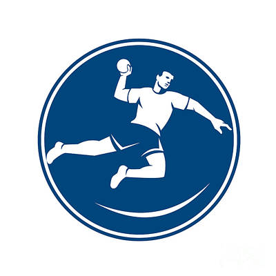 Throwing Digital Art - Handball Player Jumping Throwing Ball Icon by Aloysius Patrimonio