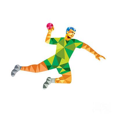 Scoring Digital Art - Handball Player Jumping Throwing Ball Low Polygon by Aloysius Patrimonio