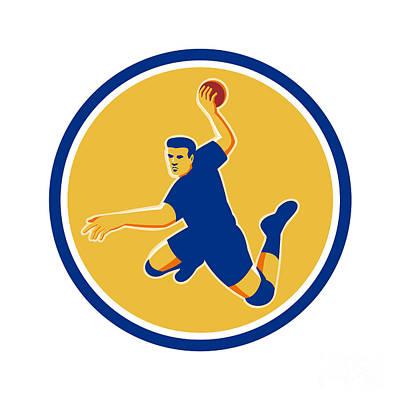 Scoring Digital Art - Handball Player Striking Circle Retro by Aloysius Patrimonio