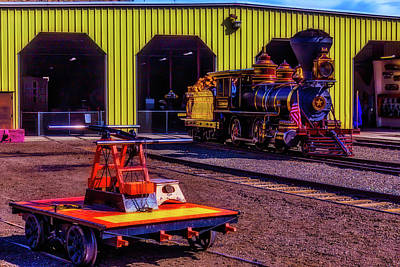 Photograph - Handcar And Old Train by Garry Gay