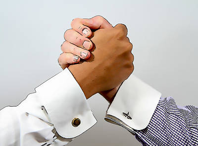Cufflinks Photograph - Handclasp Between Black And White Smartly Dressed Business Men Illustration by Michael Charles