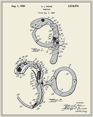 Handcuffs Digital Art - Handcuffs Patent by Finlay McNevin
