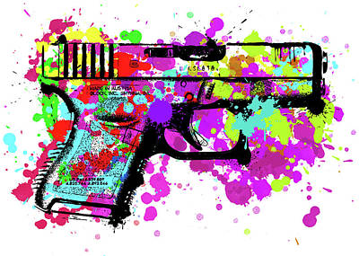 Digital Art - Handgun Pop Art by Ricky Barnard