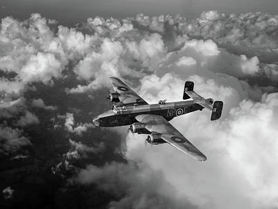 Photograph - Handley Page Halifax B IIi Above Clouds Bw Version by Gary Eason