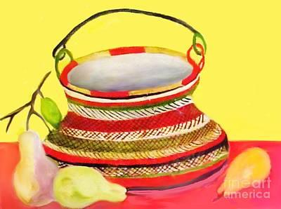 Painting - Handmade Clay Fruit Basket by Belinda Threeths