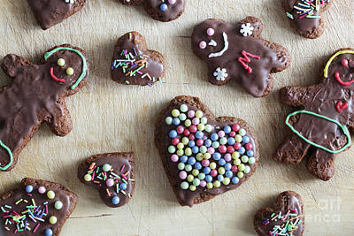 Decorating Photograph - Handmade Decorated Gingerbread Heart And People Figures by Michal Bednarek