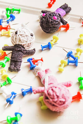 Thread Photograph - Handmade Knitted Voodoo Dolls With Pins by Jorgo Photography - Wall Art Gallery
