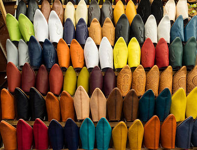 Moroccan Photograph - Handmade Leather Slippers For Sale by Panoramic Images
