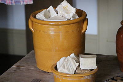 Photograph - Handmade Lye Soap In Antique Crock Photograph  by Colleen Cornelius