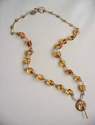 14k Mixed Media - handmade necklace smooth nuggets Madeira citrine and 14k gold filled wire by Nadina Giurgiu