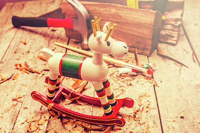 Close Up Horses Photograph - Handmade Xmas Rocking Toy by Jorgo Photography - Wall Art Gallery