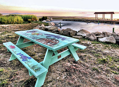 Photograph - Handpainted Picnic Table by Janice Drew