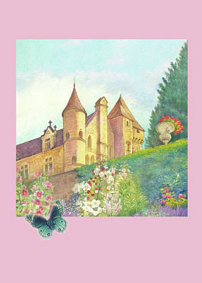 Painting - Handpainted Romantic Chateau Summer Garden by Judith Cheng