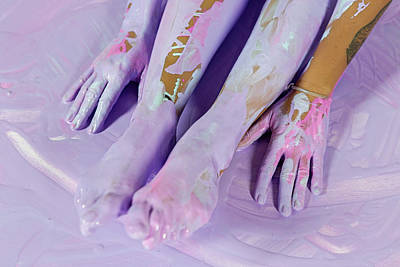 Colored Pencils - Hands And Feet Girl In Yoga by Elena Saulich