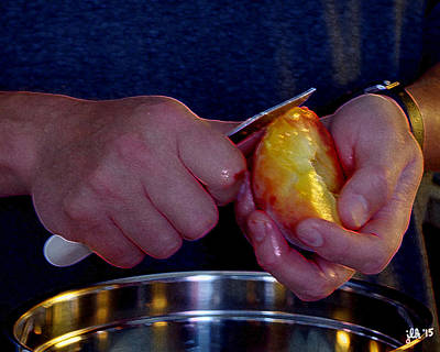 Photograph - Hands At Work Peeling A Peach by Lori Kingston