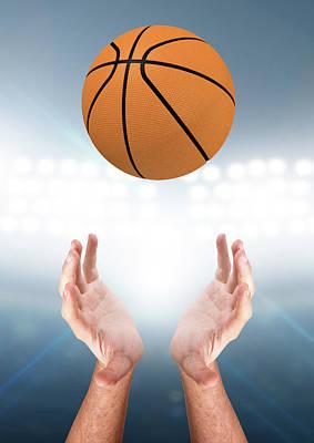 Basketball Digital Art - Hands Catching Ball by Allan Swart