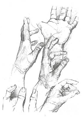Drawing - Hands by Denise Fulmer