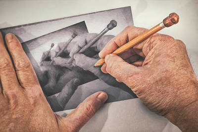 Indoor Still Life Photograph - Hands Drawing Hands by Scott Norris