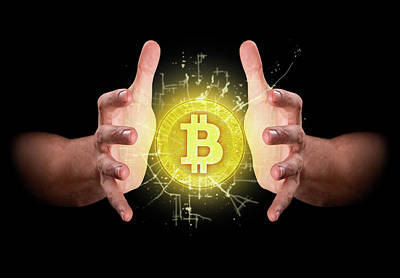Hands Grasping Cryptocurrency Art Print