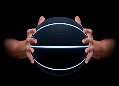 Basketball Digital Art - Hands Gripping Basketball by Allan Swart