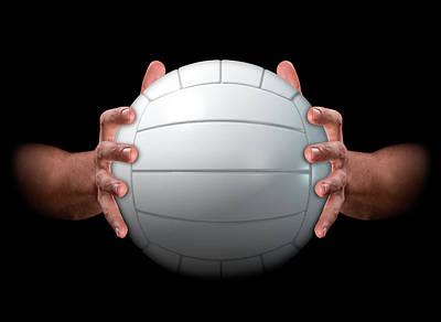 Volleyball Digital Art - Hands Gripping Volleyball by Allan Swart