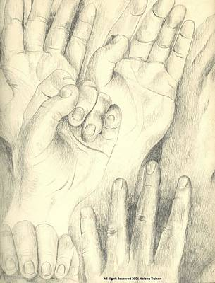 Drawing - Hands by Helena Tiainen