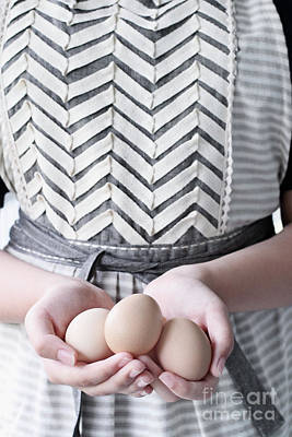 Photograph - Hands Holding Three Brown Eggs by Stephanie Frey
