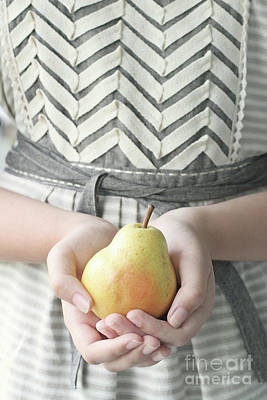 Photograph - Hands Holding Yellow Pear by Stephanie Frey